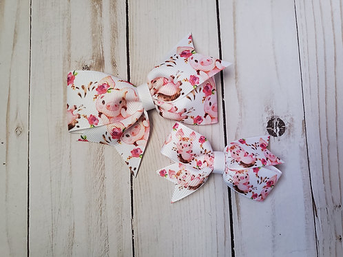 Floral Piggy Single Pinwheel Hair Bow