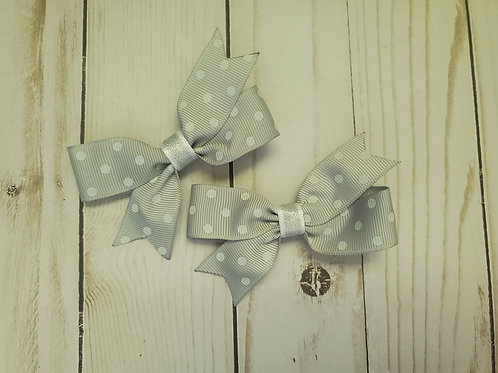 Brain Cancer Awareness Month Piggy Tail Gray Bow Set of 2