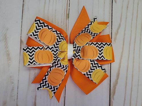 Pumpkin Stacked Pinwheel Hair Bow