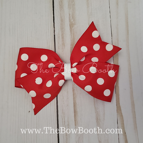 Red Polka Dot Single Pinwheel Hair Bow