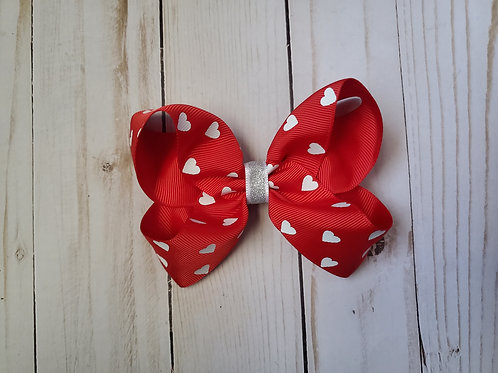 Red Hearts Twisted Boutique Hair Bow