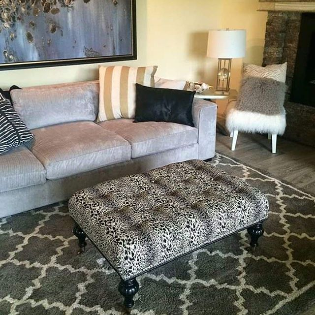 Custom reupholstered ottoman by Repinned!