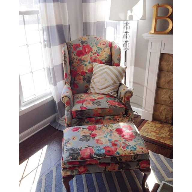 Reupholstered wing back by Repinned. I have an extreme chair addiction