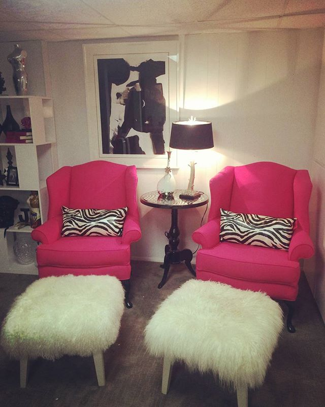 Another satisfied customer! #transformation #wingbackchair #pink #furniture #decor #reupholstery #in