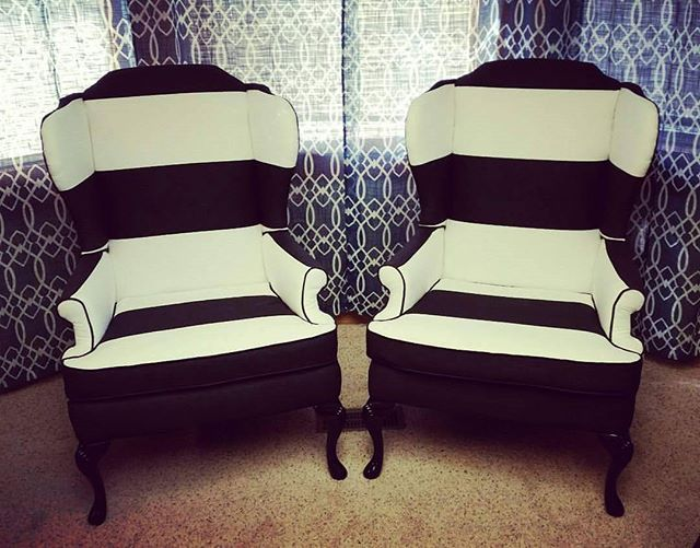 Classic Black & White #wingback #reupholstery #upholstery #decor #design #interiordesign #furniture