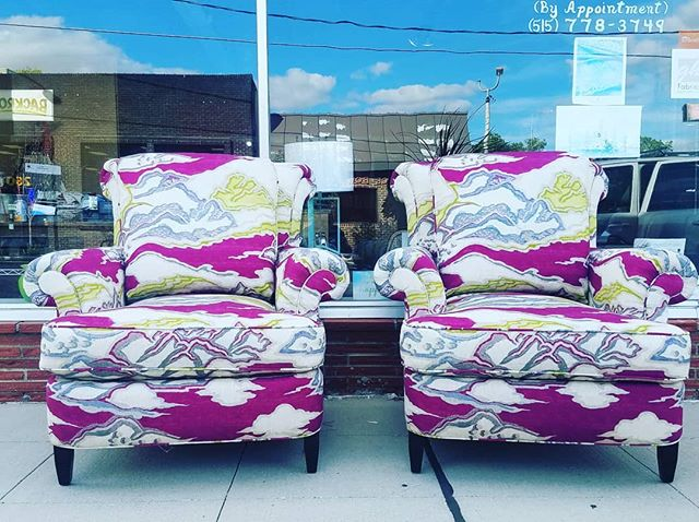 Twinning! Custom scroll back chair uphol