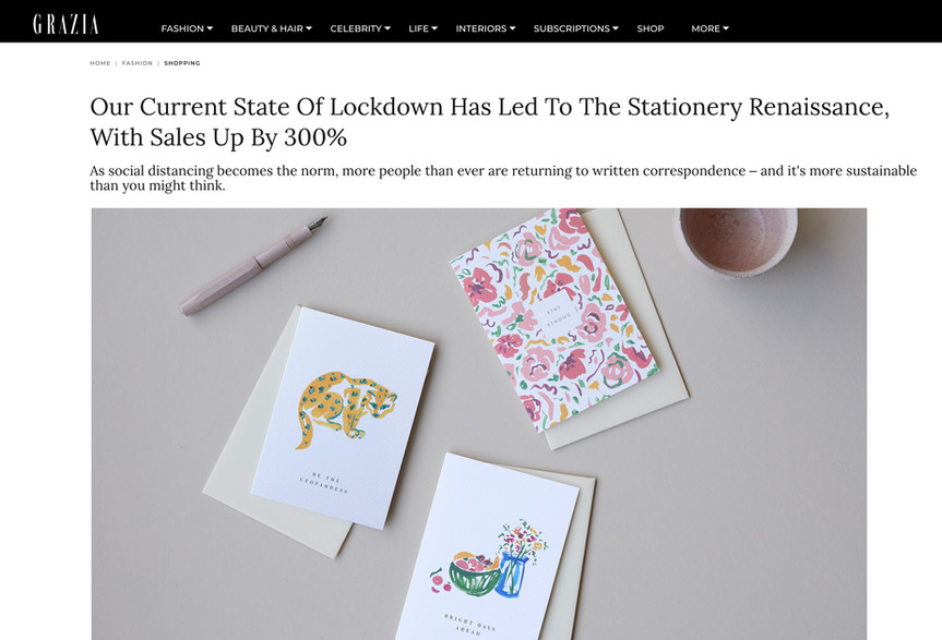 GRAZIA feature on stationery in lockdown.
