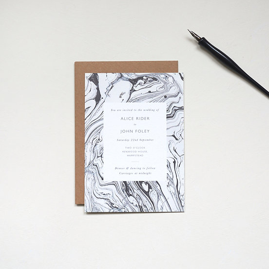 Monochrome Marble Invitations