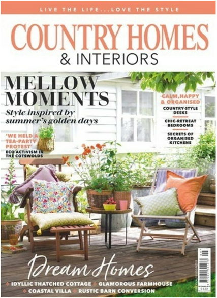 COUNTRY HOMES, cover image featuring Sophie's floral cushion. Styled by Selina Lake.
