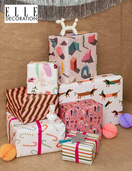 ELLE DECORATION, festive feature with Sophie's abstract wrapping paper.Piece by Kiera Buckley-Jones.