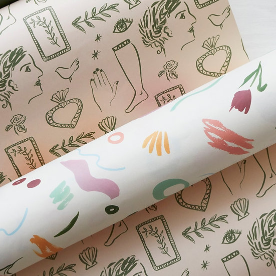 'Abstract' roll of 3 wrapping paper sheets