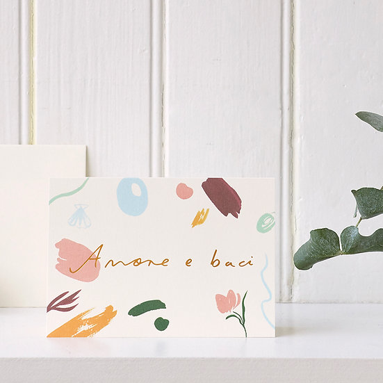 Amore e Baci, gold foil card