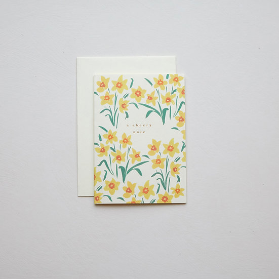 'A cheery note', Daffodils card