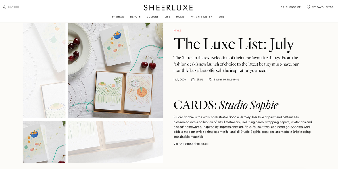 SHEERLUX shopping edit  ft. Sophie's recipe cards with Rosie Birkett.