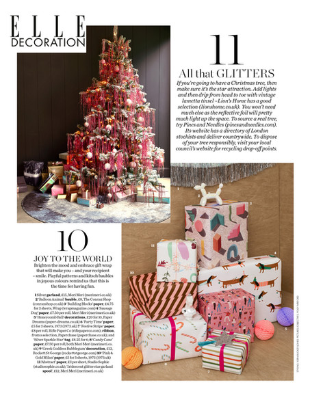 ELLE DECORATION, festive feature with Sophie's abstract wrapping paper. Piece by Kiera Buckley-Jones.