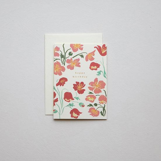 'Happy birthday', Poppies card