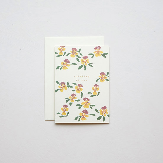 'Thinking of you', Pansies card