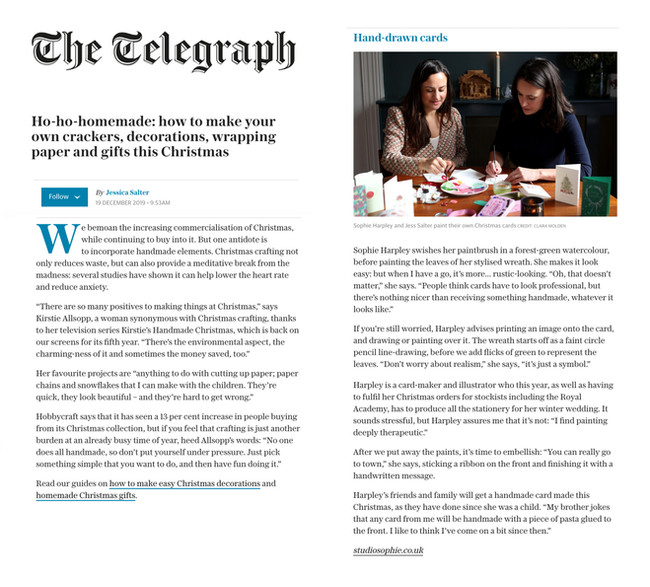 TELEGRAPH feature on Christmas crafting by Jessica Slater.