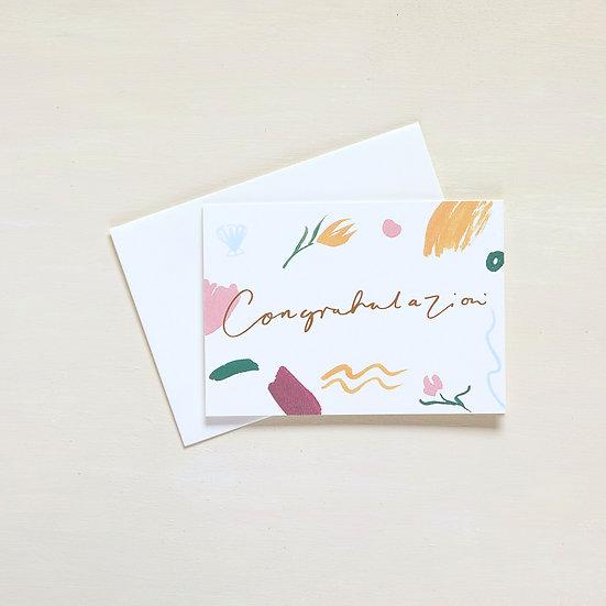 Congratulazioni, gold foil card