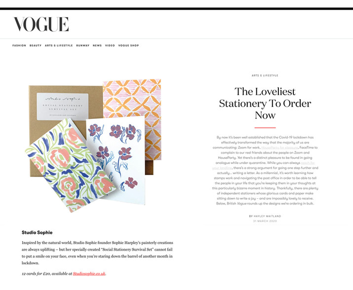 VOGUE feature about beautiful stationery. Words by Hayley Maitland.