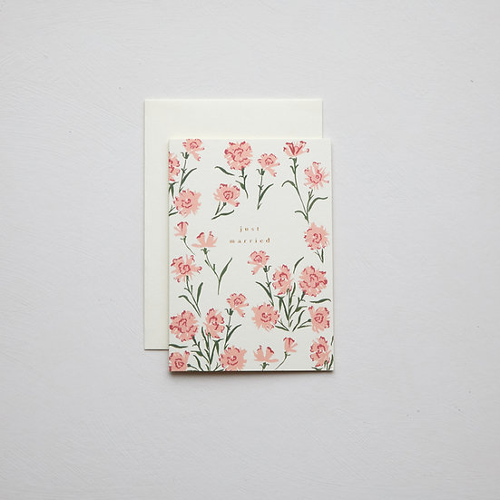 'Just married', carnations card