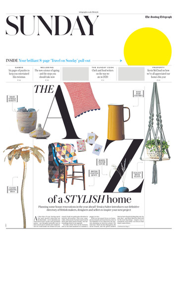 SUNDAY TELEGRAPH, A-Z of a Stylish Home ft. Sophie's 'Strength & Love' card set. Piece by Jessica Slater.