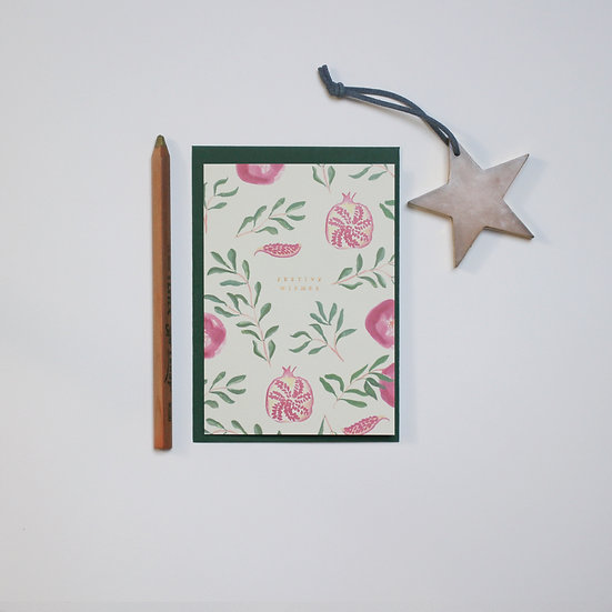 'Festive Wishes' Pomegranates card with gold