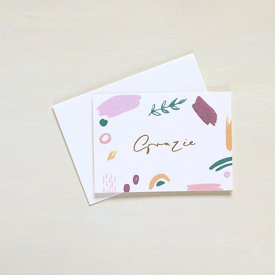 Grazie, gold foil card