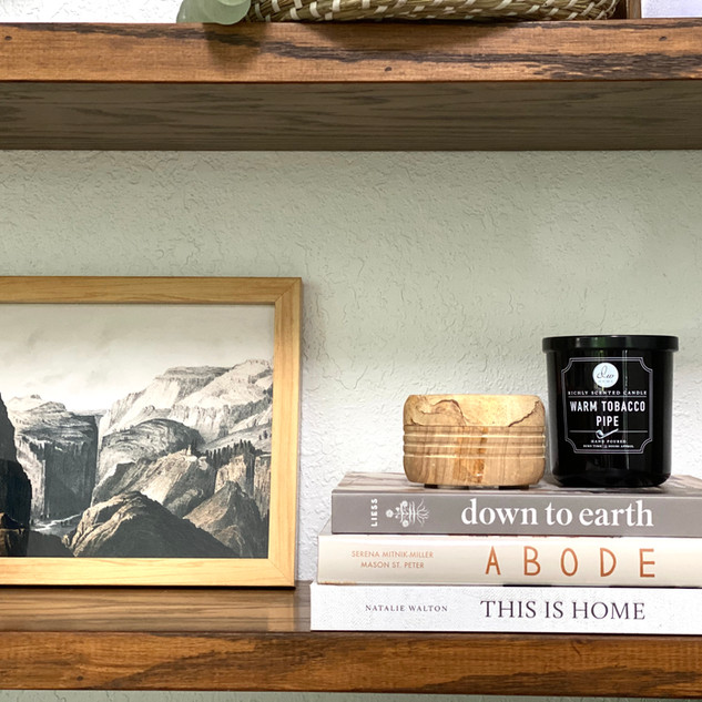 Living room shelf styling