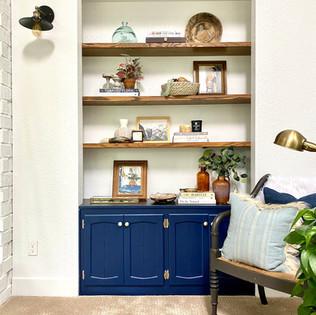 Living room shelf styling