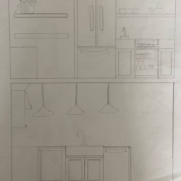 Cleaning area elevation and alternative to pantry wall