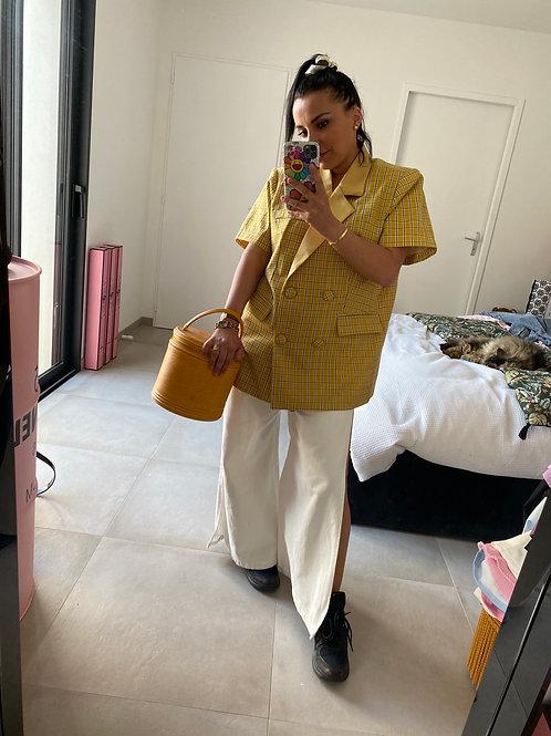 Veste manche courte à carreaux jaune