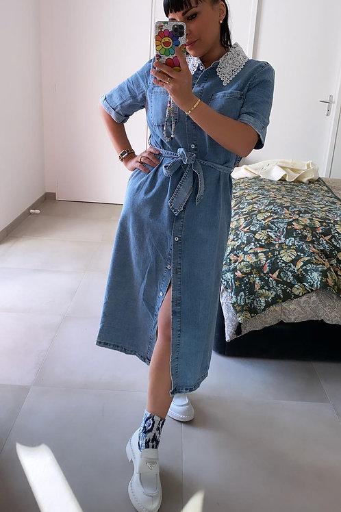 Robe en jean col Claudine dentelle