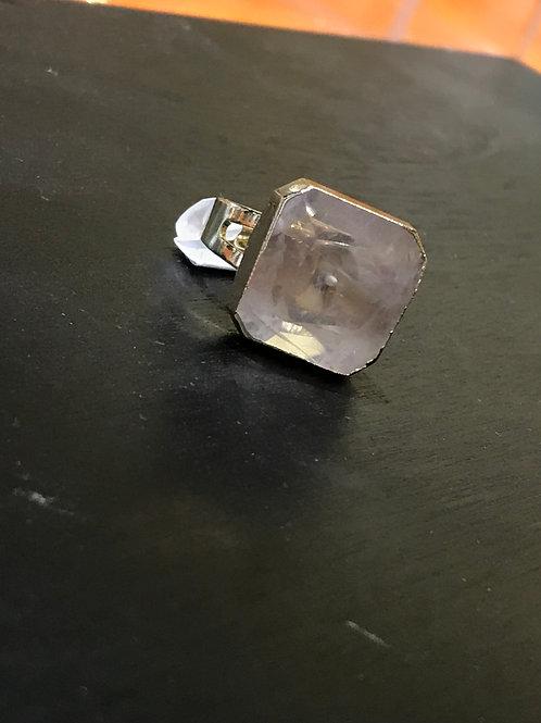 Bague carrée pierre transparente