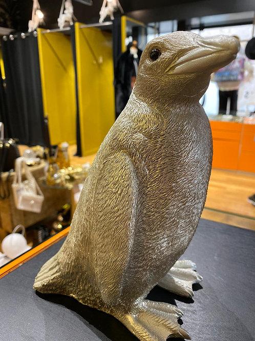 Tirelire pingouin argent pailleté