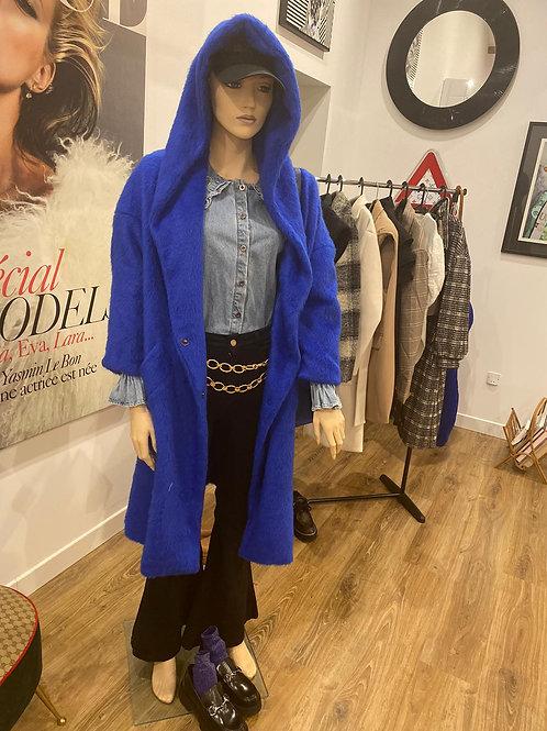 Manteau à capuche en laine bleu électrique