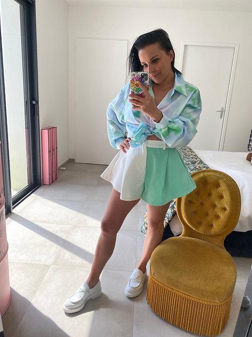 Short jupette bi color blanc et vert pastel