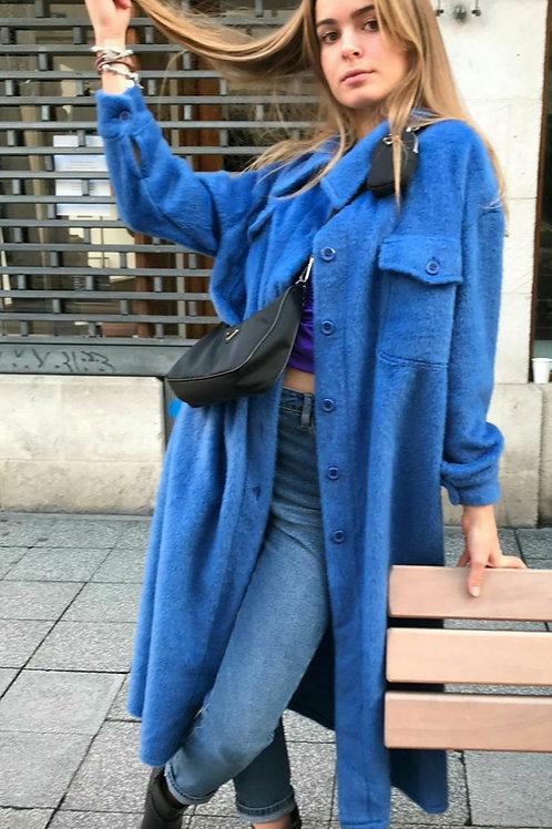 Manteau long laine bleu à poil court