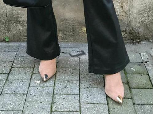 Boots suedine beige à talon