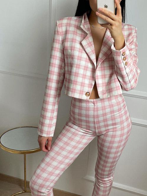 Veste courte à carreaux rose