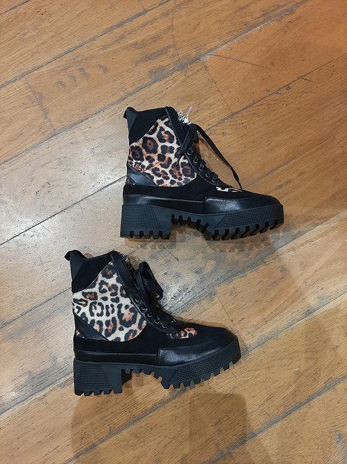 Boots leopard à lacet