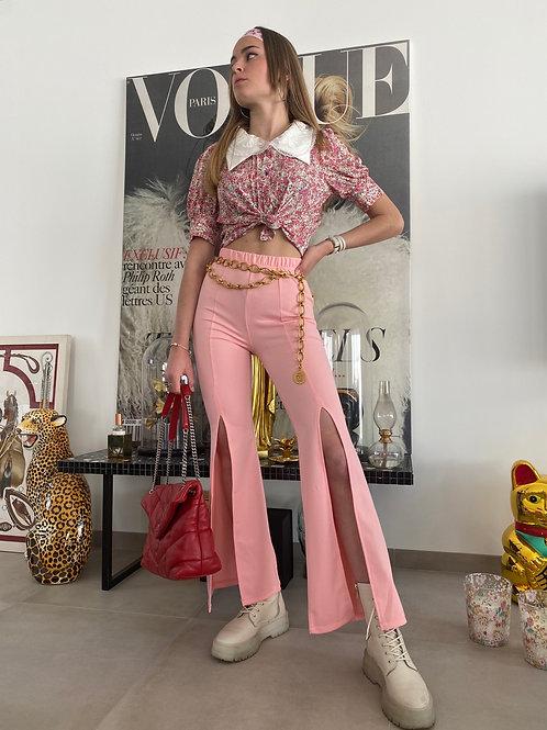 Pantalon évasé rose
