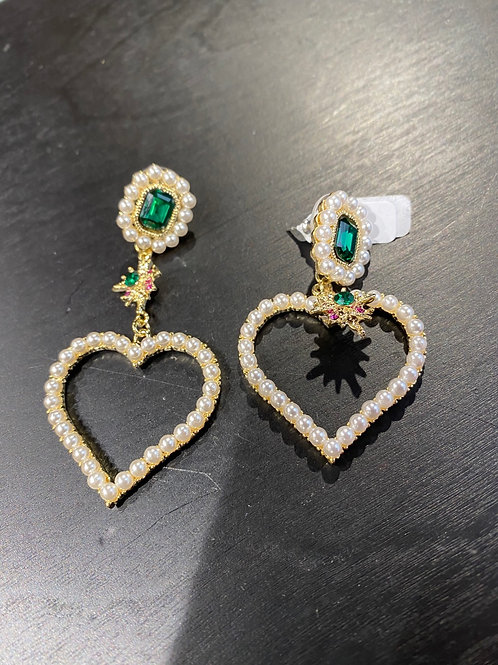 Boucle d'oreilles perle et diamant rose