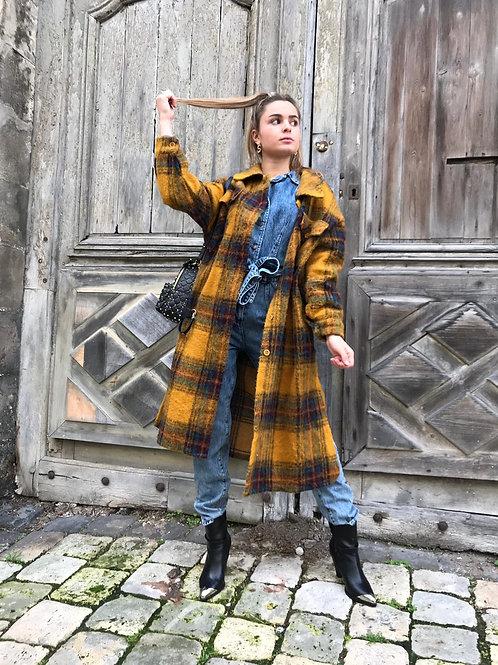 Manteau long en laine carreaux moutarde
