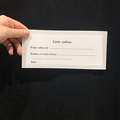 Carte cadeau d'une valeur de 80€