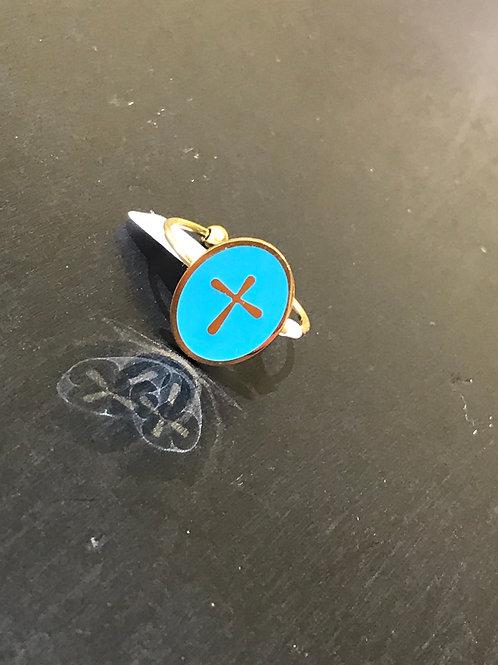 Bague croix bleue