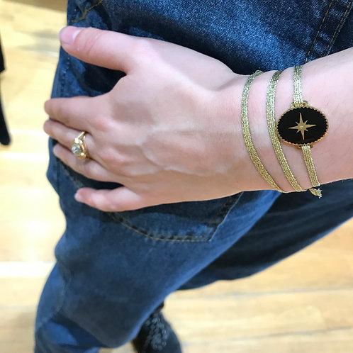 Bracelet 3 rangs or et noir