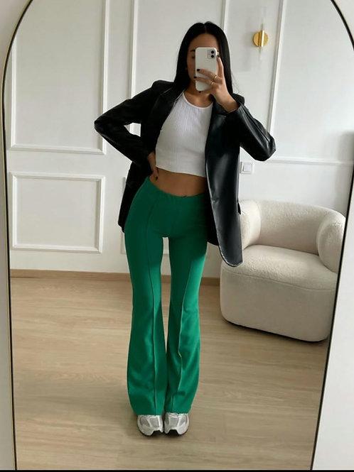 Pantalon évasé vert