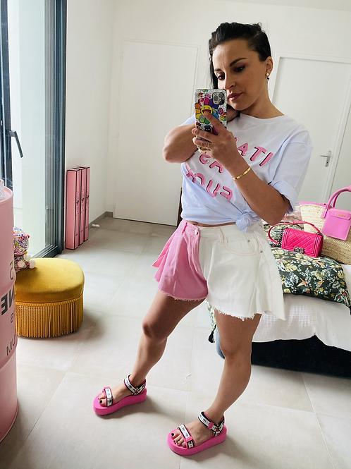 Short jupette jean bi colors rose et blanc
