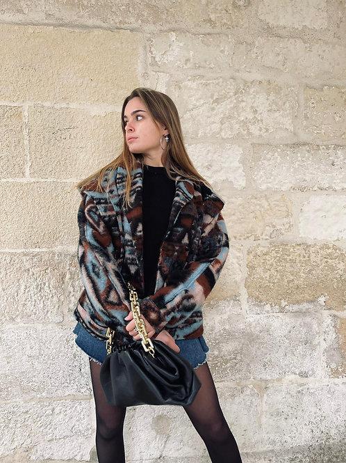 Manteau en laine motif inca